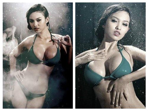 Hình ảnh vòng 1 đẹp của Hoàng Oanh cũng khiến nhiều người phải mê mẩn