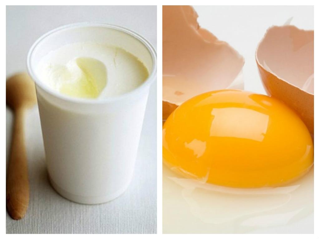 Mặt nạ cho ngực gồm sữa chua và lòng đỏ trứng gà