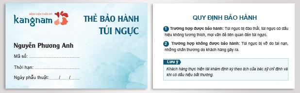 Thẻ bảo hành túi ngực trọn đời tại Kangnam1